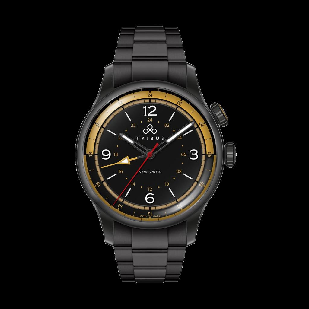 TRI-02 GMT 3 Timezone COSC Gun/Black/Bracelet