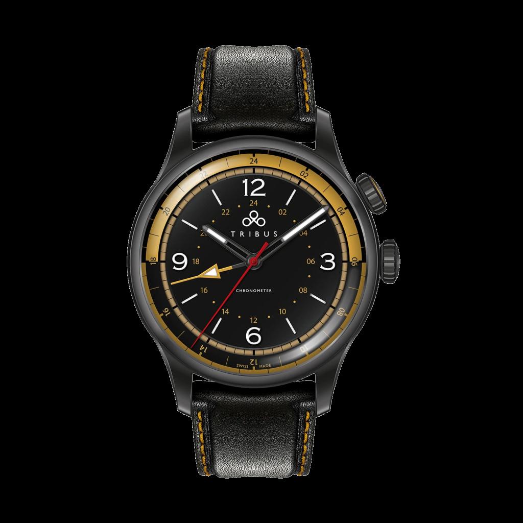 TRI-02 GMT 3 Timezone COSC Gun/Black/Black