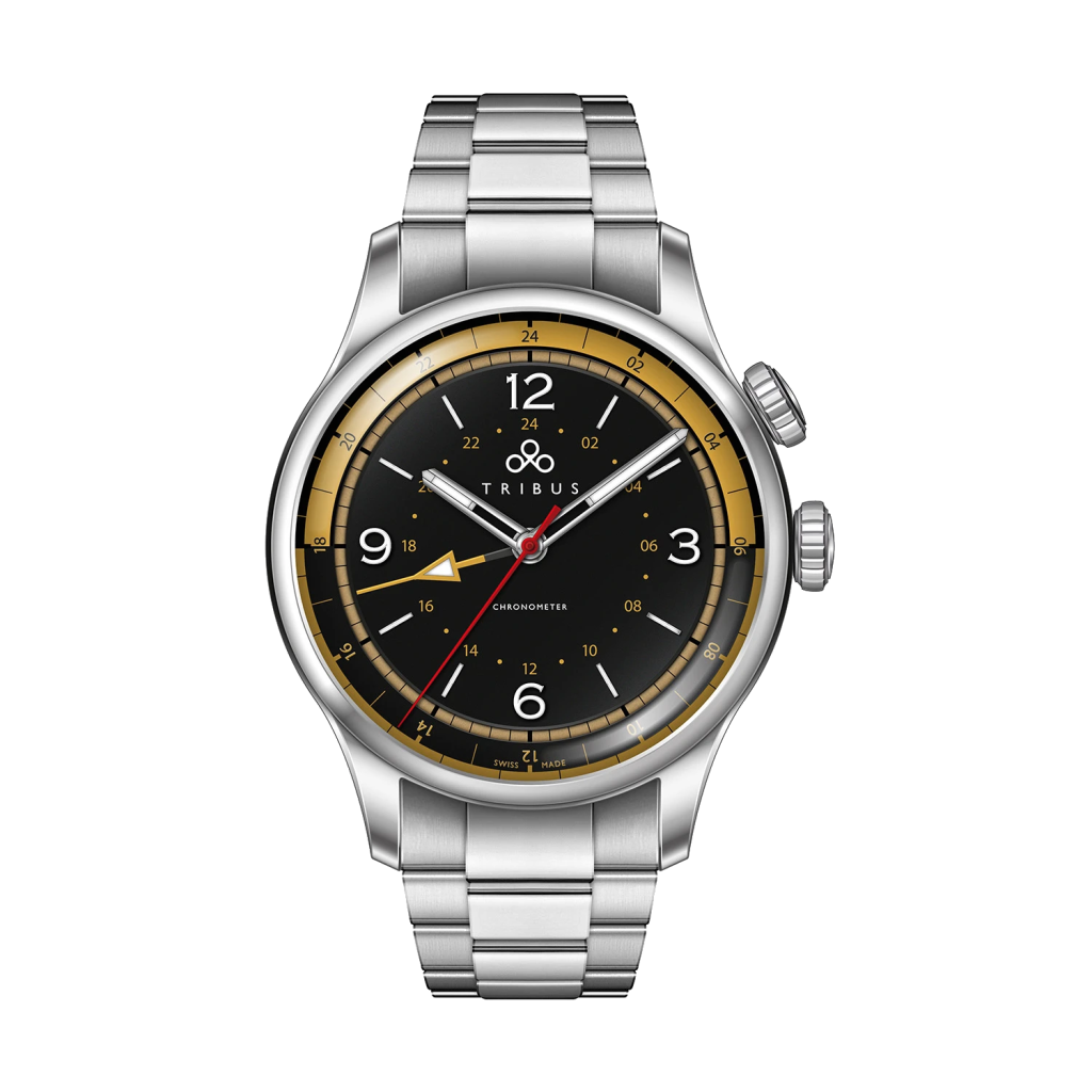 TRI-02 GMT 3 Timezone COSC Steel/Black/Bracelet