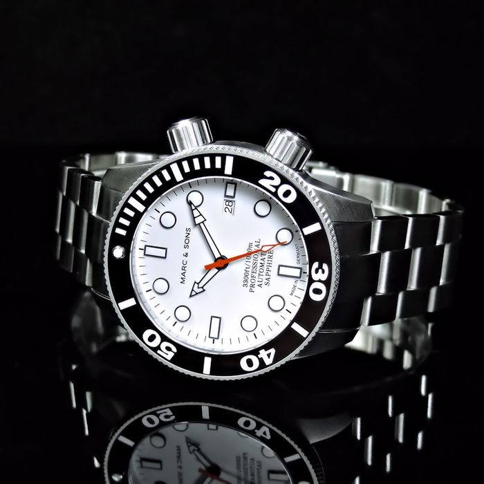 Marc & Sons 1000m Professional Diver, White