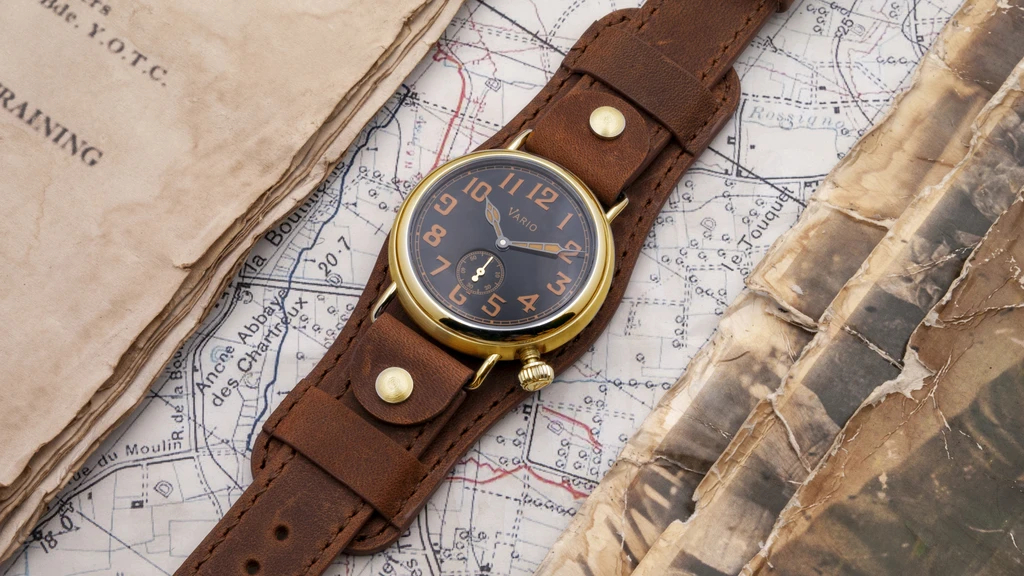 1918 Brass Trench Black Dial with Orange Lume