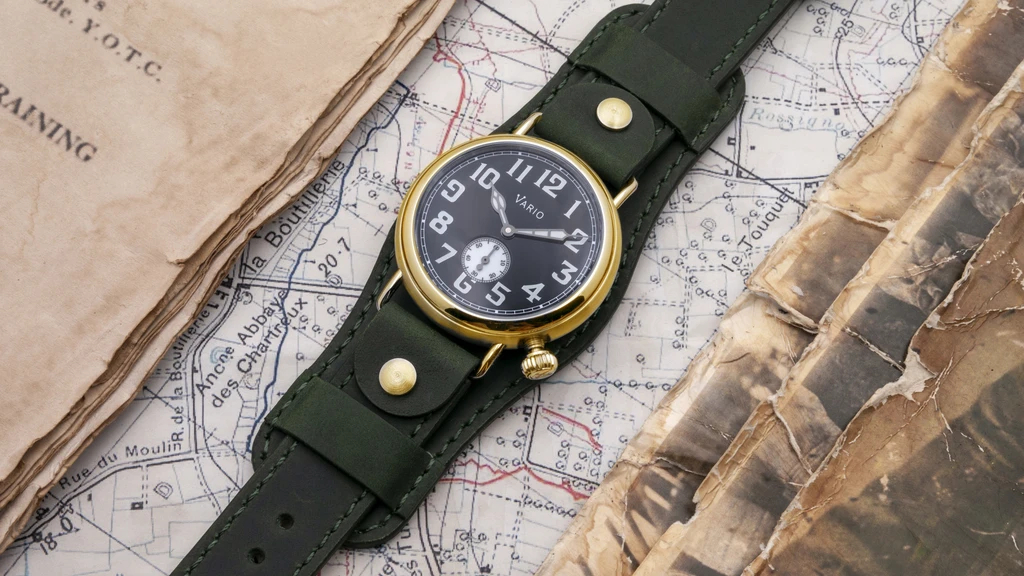 1918 Brass Trench Black Dial with White Lume