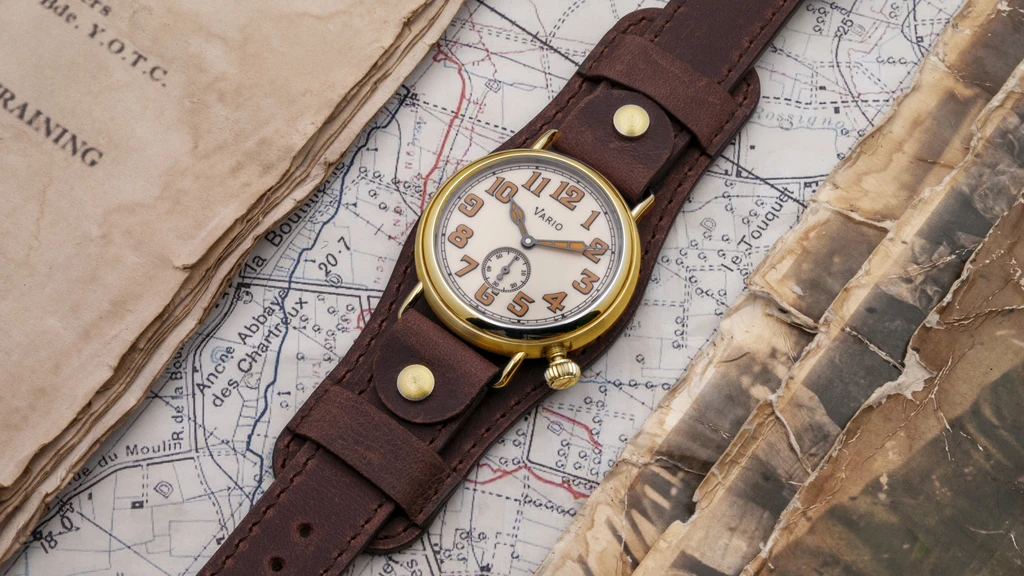 1918 Brass Trench Cream Dial with Orange Lume