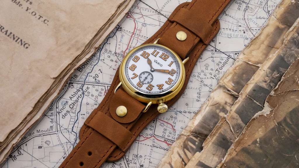 1918 Brass Trench White Dial with Orange Lume