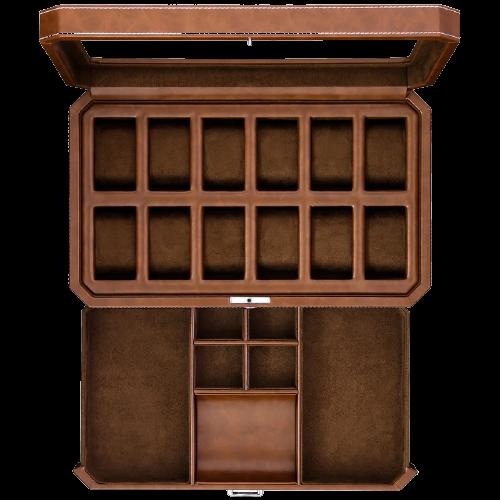 Rothwell 12 Slot Watch Box (Tan/Brown)