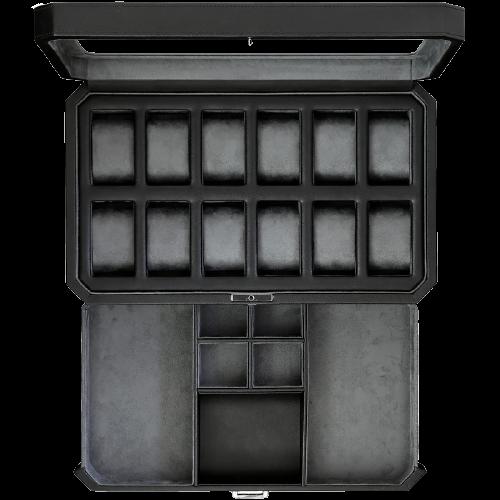 Rothwell 12 Slot Watch Box (Black / Grey)